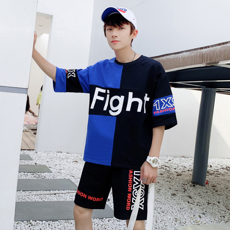 Teenager Short Sleeve T-shirt Boy Summer A Set Korean-style Trend Handsome Clothes Junior High School Students Sports Summer Wea
