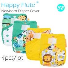 Neue! (4 teile/los) Glücklich Flöte Neugeborenen Windel Abdeckung für NB Baby, Doppel Undichten Wachen, Wasserdicht Und Atmungsaktiv