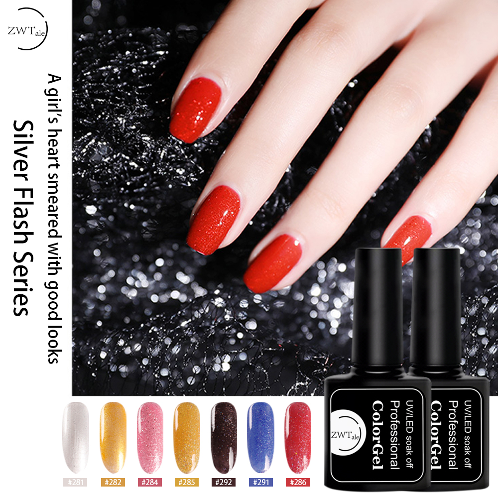 Free Shipping ZWTale 8ml Gel Nail Polish Glitter Nail Gel Vernis Long lasting Holographic UV Gel Varnish Semi Permanent in Nail Gel from Beauty Health