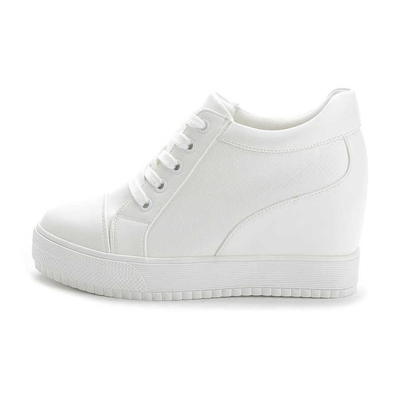 Black White Hidden Wedge Heels sneakers
