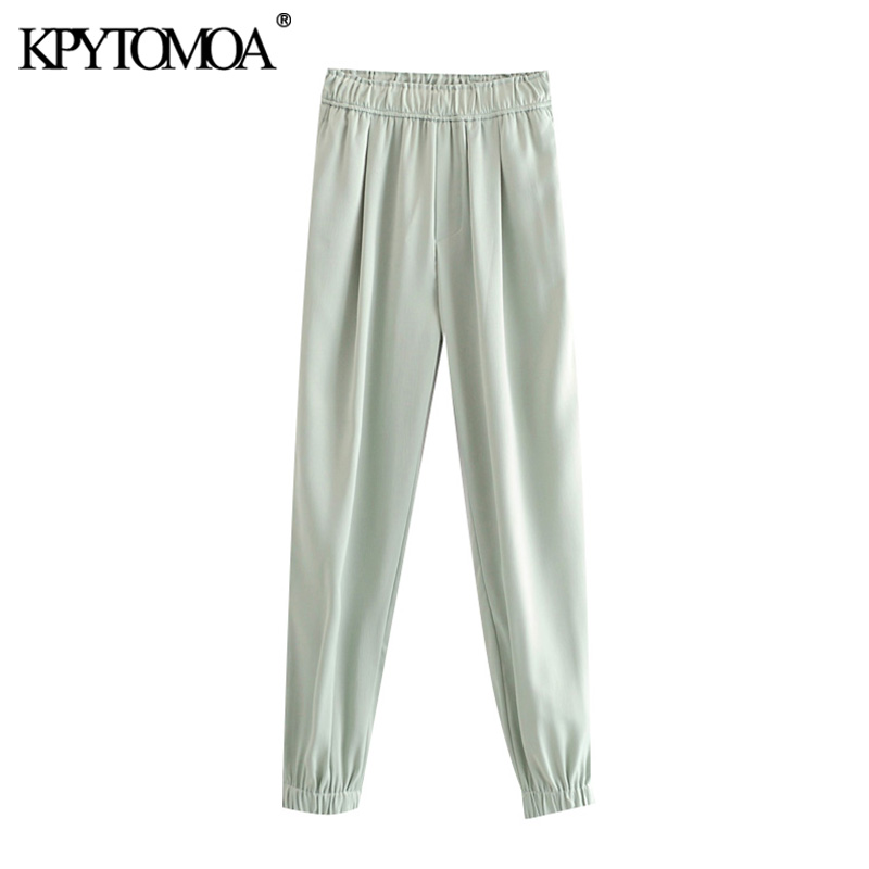 KPYTOMOA Women 2020 Chic Fashion Cozy Joggers Pants Vintage High Elastic Waist Side Pockets Female Ankle Trousers Pantalones