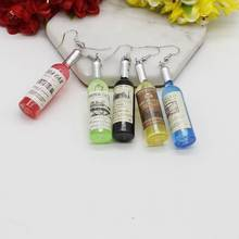 Fashion Charm Simulation Wine Bottle Pendant Earrings Women Black, Red, Yellow, Blue, Green Jewelry Wholes