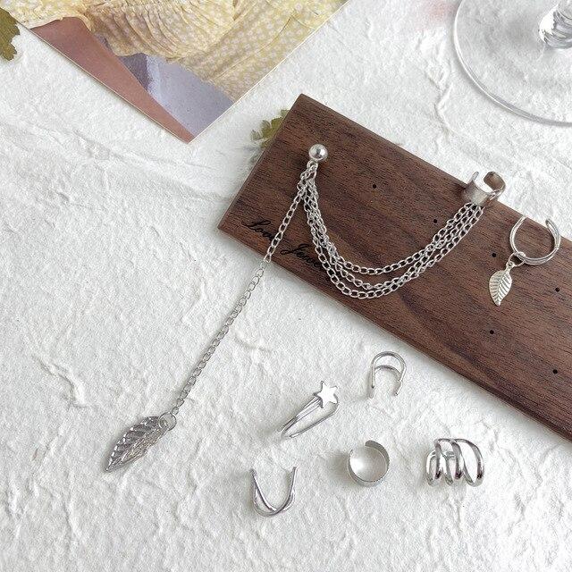 7 pçs moda estrela de ouro folhas não-piercing orelha clipe brincos para mulheres simples falso cartilagem orelha manguito jóias clipe acessórios 4