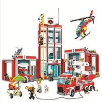 60110 958pcs Série Cidade A Estação de Fogo Modelo Compatível com Legoinglys Building Block Tijolo Brinquedo para Crianças Dom 10831