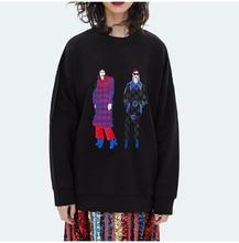 Cartoon Character Embroidery Knitted Sweatshirt Women Autumn 2019 O Neck Streetwear Oversized Hoodie Casual Sweatshirts недорого