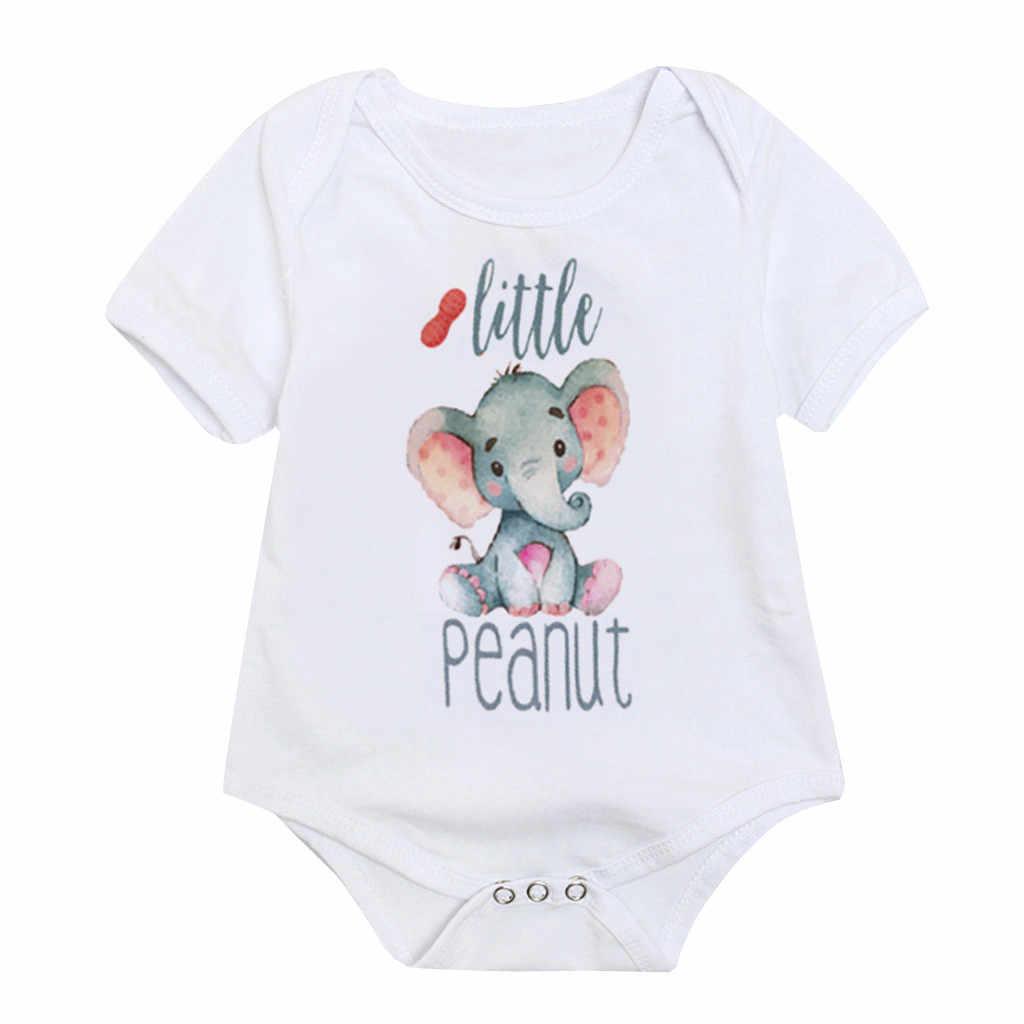 יילוד מכתב פיל בגד גוף תינוקת בגדים פעוט קצר שרוול חולצות קיץ פעוט קריקטורה הדפסת חמוד בגד גוף סרבל