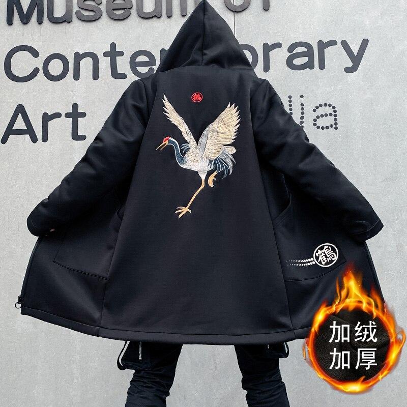 Winter Trench Coat Men Chinese Style Crane Embroidery Harajuku Windbreaker Overcoat Male Casual Outwear Hip Hop Streetwear Coats