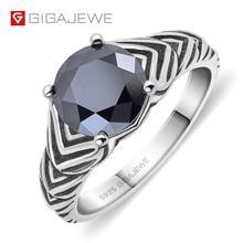 GIGAJEWE 2.0ct 8,0mm EF redondo 925 Plata tailandesa anillo de molissanita diamante prueba pasado joyería mujer novia regalo