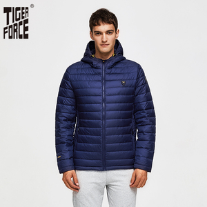 Image 1 - TIGER FORCE Men Hooded Jacket Fashion Spring Winter Cotton Padded Jackets Solid Color Casual Parka Male Puffy Coat with Hoody