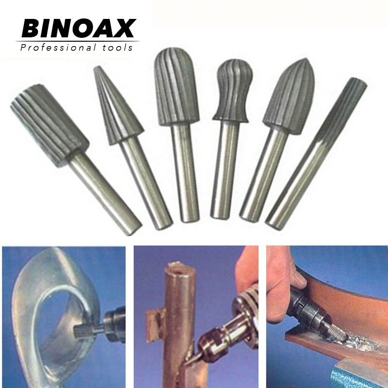 BINOAX 6pcs Carbide Cutter Rotary Burr Set CNC Engraving Bit Rotary File Bur Grinding Shank 6mm 1/4
