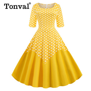 Image 3 - Tonval Two Tone Cotton Half Sleeve A Line Midi Polka Dot Vintage Dress Pinup Women Spring Summer O Neck Casual Swing Dresses