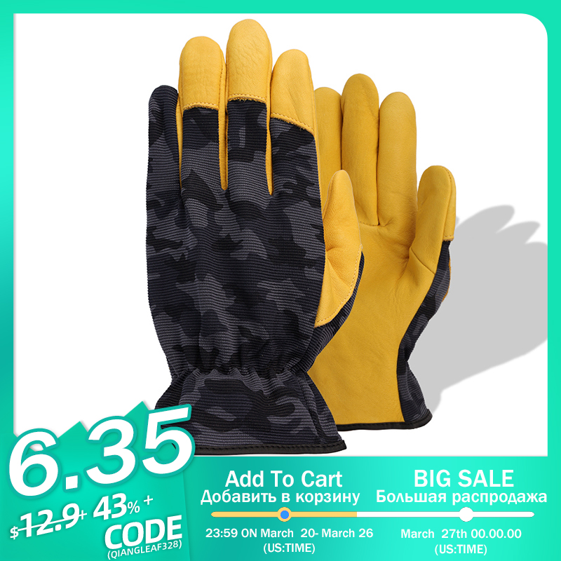 QIANGLEAF Hot Product Pigskin Leather Working Safety Glove Cowhide Leather Gardening Glove Mechanic Work Gloves 9530MC