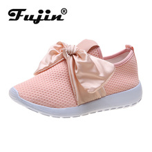 Fujin Butterfly-knot Sneakers Women Vulcanized Shoes Summer Spring Autumn Knitting Breathable Shoe Chunky Flat