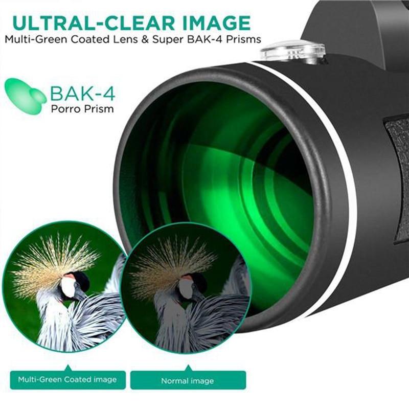 Free Shipÿ40X60 Portable High Power HD Telescope Monoculars Night Vision Zoom Optical HD Lens^