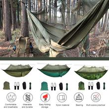 2 Person Hammmock Portable Outdoor Camping Hammock with Mosquito Net High Strength Parachute Fabric Hanging Bed Hunting Sleeping