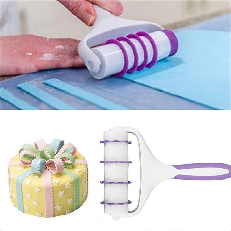 Fondant Strip Ribbon Cutter Sugarcraft Cake Rolling Pin Embosser Roller Set Cake Decorating Tool Kitchen Bakeware Multi-function