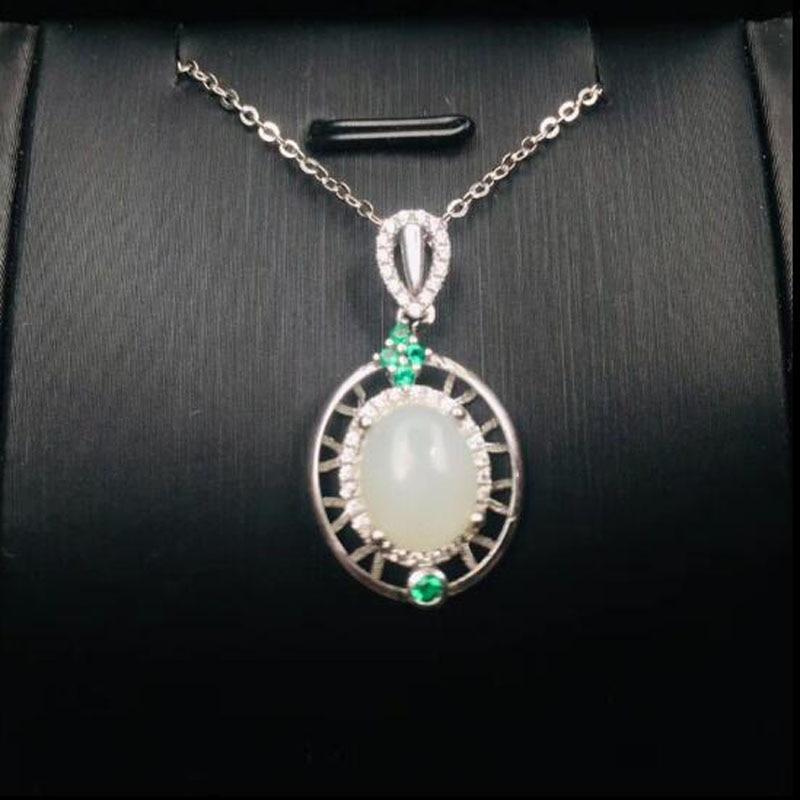 Xinjiang hetian Biyu Perle Collier jade chaîne épinards Vert Hommes et Femmes 8 mm