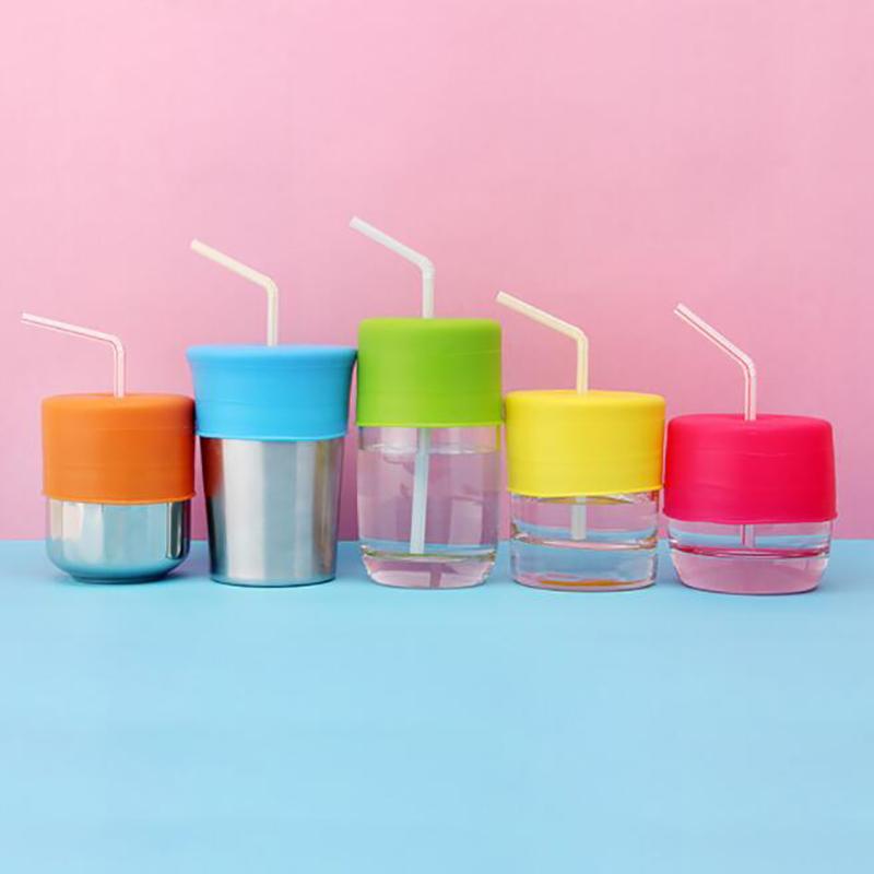 Candy Color Silicone Lid Cup Cover Leakproof Glass Lids For Children Kids Stretchable Proof Leak Silicone Straw Cup Covers