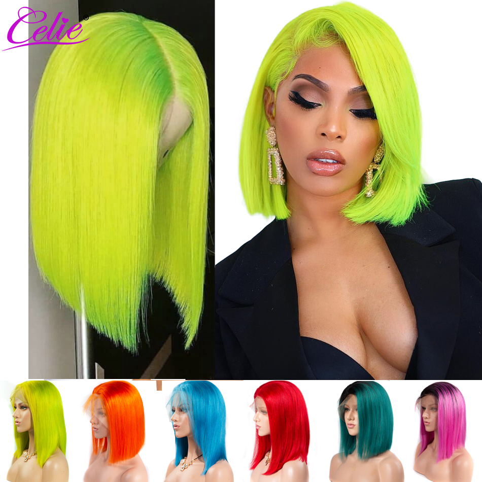 Celie Green Wig Bob Short Human Hair Wigs Red Orange Grey Purple Yellow 613 Blonde Ombre 13x6 Lace Front Wig Colored Human Wigs