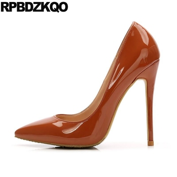 brown 12cm 5 inch women leather grey shoes stripper high heels pointed toe wine red 8cm thin fetish extreme pumps exotic dancer