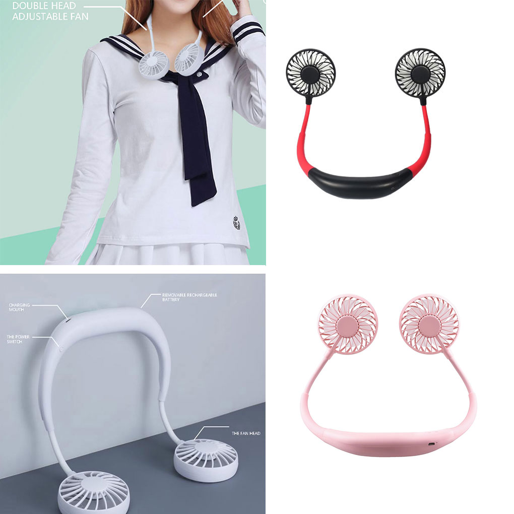 Mini USB Rechargeable Fan Lazy Neck Hanging Style Dual Cooling Fan Travel Outdoor Indoor Wearable Neckband Fan
