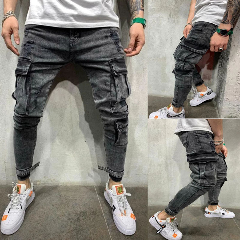 Patchwork Denim Jeans Men Pencil Pants Slim Fit Biker Skinny Pencil Jean Casual Jogger Side Pocket Hip Hop Black Cargo Trousers