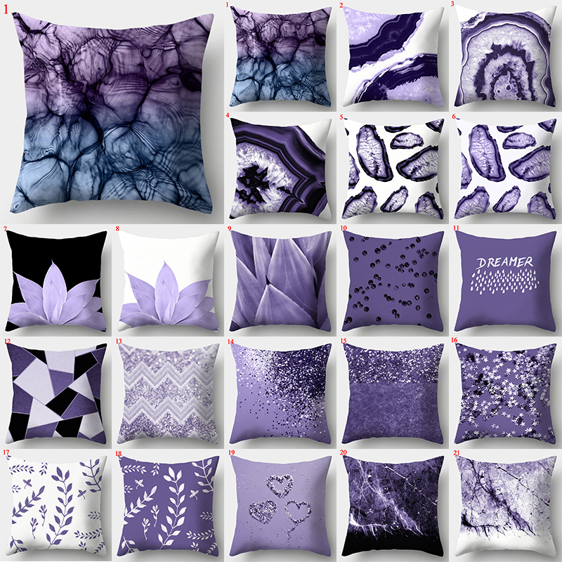 45*45cm Purple Geometric Pillow Covers Decorative Cushion Cover Throw Pillow Case For Home SofaDecoration  Square Pillowcases