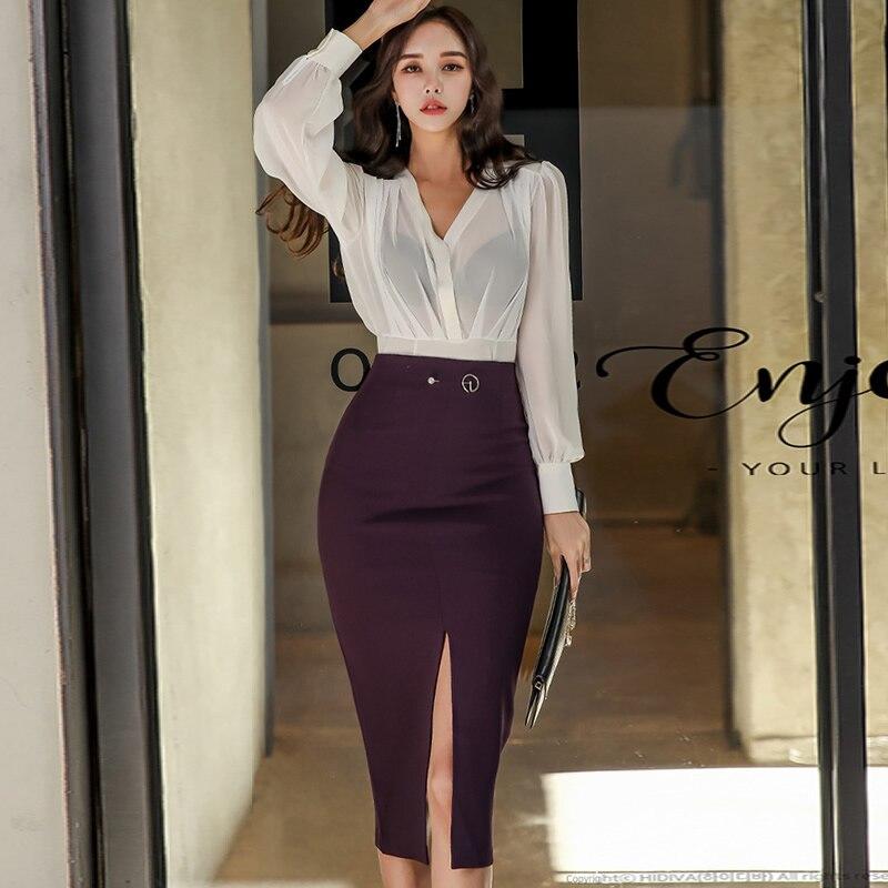 Korea Clothing Sets Spring V-Neck OL Chiffon Blouse Bodycon Pencil Midi Skirt Women's Split Sexy Two Piece Office Suit Dresses