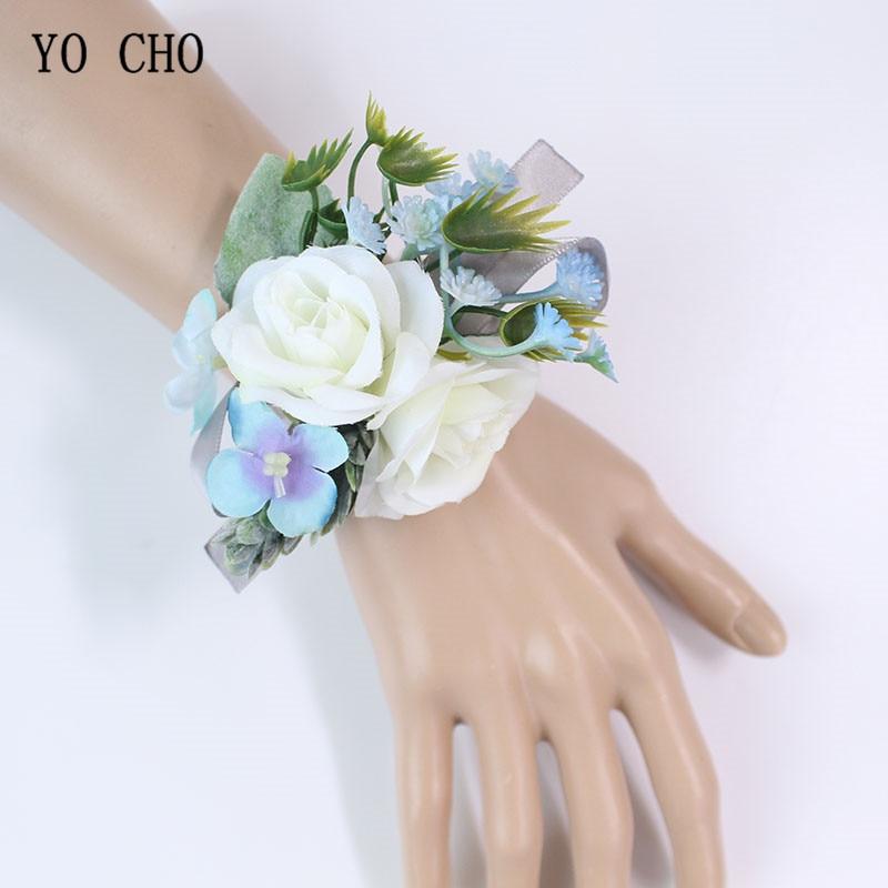 YO CHO Silk Rose Wedding Bracelet Flower White Blue Wrist Corsage Bridesmaid Bride Wedding Corsage Bracelet Marriage Accessories