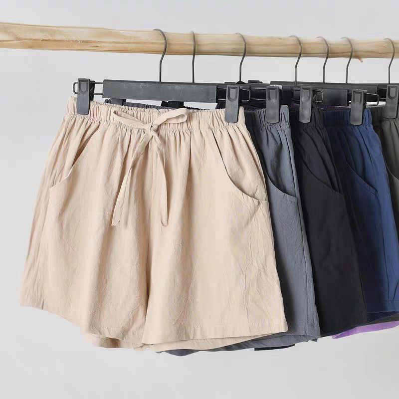 Celana Pendek Wanita Katun dan Linen Celana Pendek Wanita Musim Panas 2020 Baru Olahraga Longgar Leisure Pinggang Tinggi-Linen Lebar kaki Mahasiswa Celana Pendek