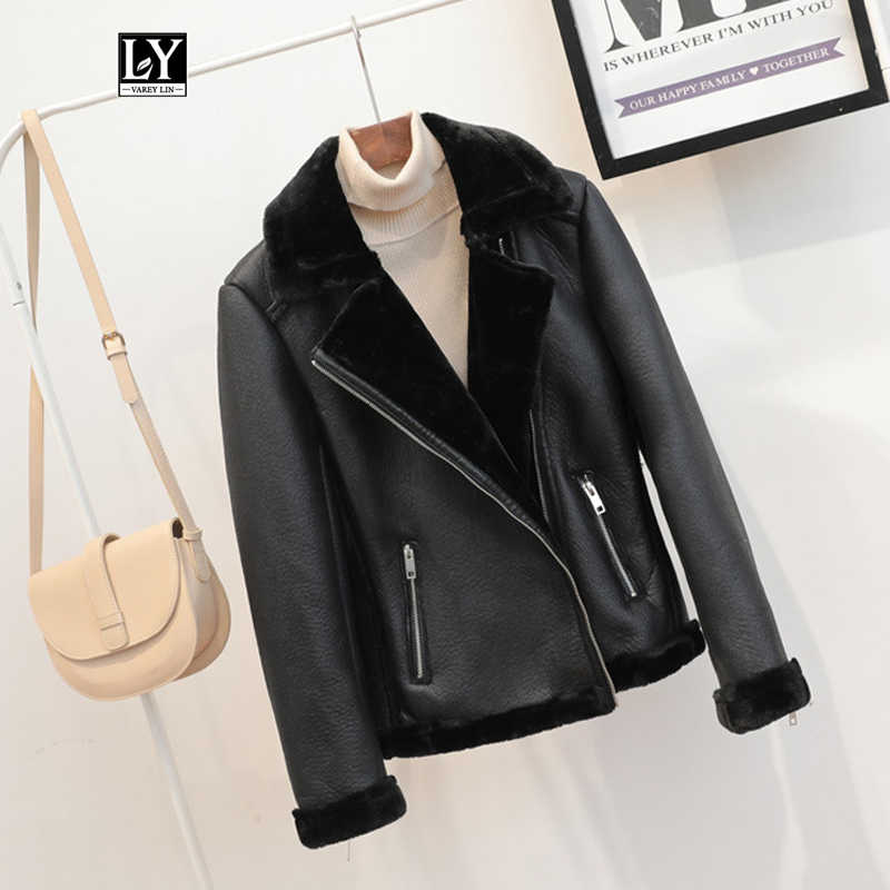 Ly Varey Lin New Winter Women Sheepskin Coats Thicken Warm Faux Leather Jacket Fur Lining Aviator Jacket Lambs Wool Fur Outwear