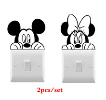 2pcs/set Mickey Minnie Wall Vinyl Sticker Cute Light Switch For Kids Room Decorative Fairy Stickers AZ083