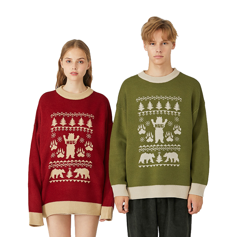Funny Knitted Matching Christmas Sweaters For Couples Men And Women Bear Hug Matching Ugly Christmas Pullover Jumpers Plus Size