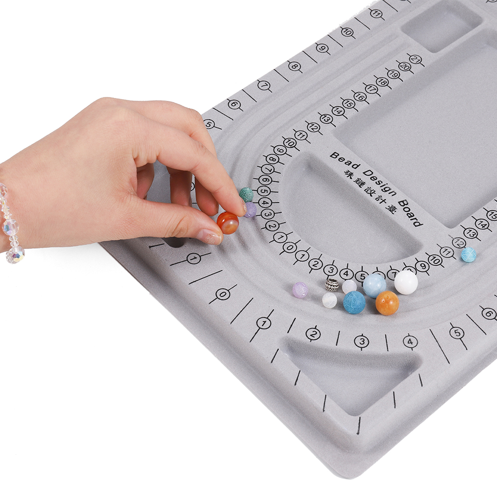 Gray Flocked Bead Board For DIY Bracelet Necklace Beading Jewelry Making Organizer Tray Design Craft Measuring Tool Accessories