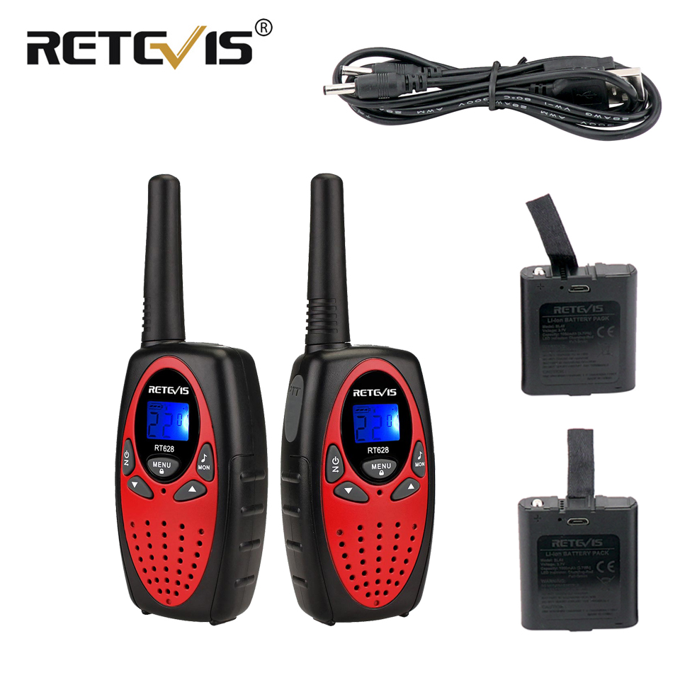 Retevis RT628 Rechargeable Kids Walkie Talkie 2pcs PMR446 PMR FRS Mini Two Way Radio Christmas Gift VOX New Year Present