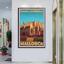 Retro vintage estilo de viagem cartaz palma catedral mallorca pintura a óleo cartazes e impressões na lona arte da parede modular fotos