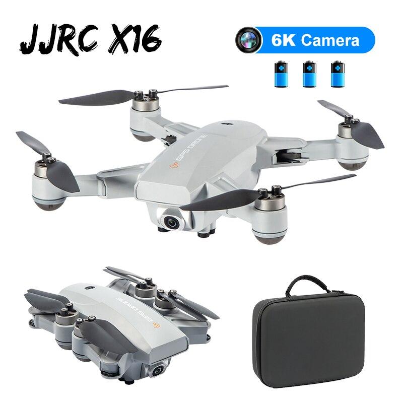 JJRC X16 5G WIFI FPV Dual GPS 6K HD Cámara posicionamiento de flujo óptico sin escobillas plegable RC Dron de carreras con visión en primera persona Quadcopter RTF w/bolsa