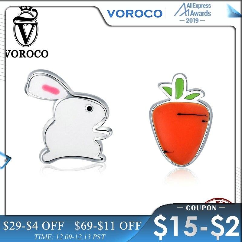 VOROCO Cute Rabbit Carrot Stud Earrings Woman Girl Real 925 Sterling Silver Enamel Earring Trendy Brincos Fine Jewelry VSE154