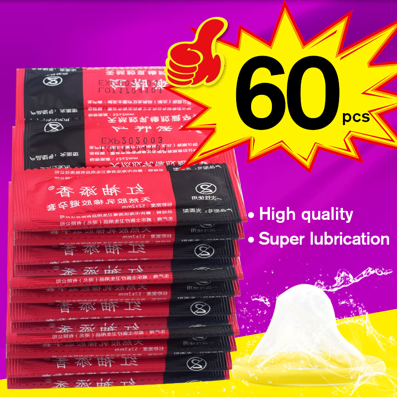Wholesale Hot Sex Products 60 PCS Condoms Lot Sex Products With Naked Package Condom Condoms For Men Latex Lubricant Large Oil
