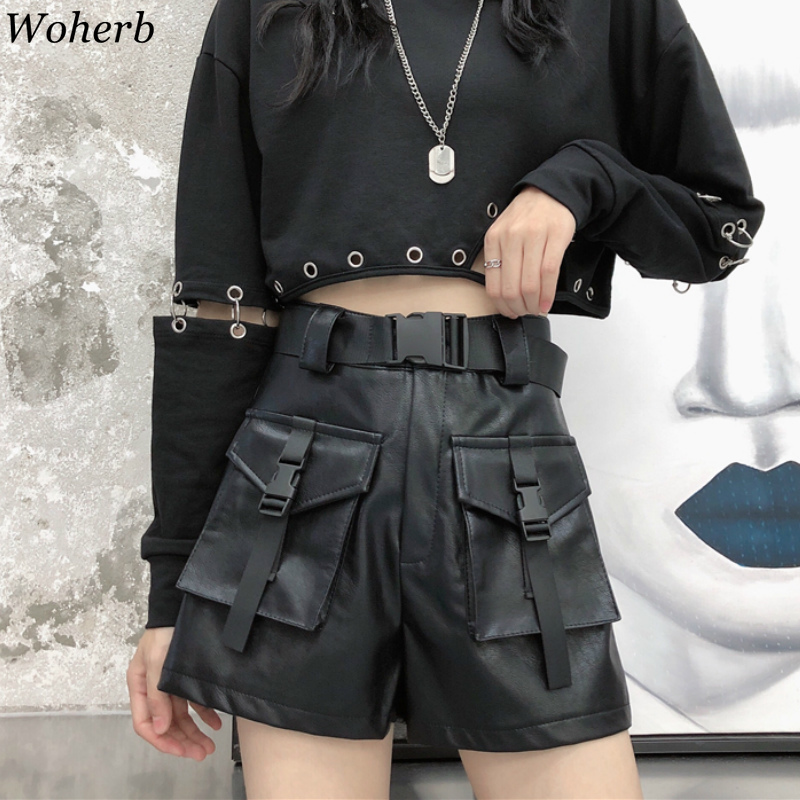 Woherb Women Black Camouflage PU Leather   Shorts   Women High Waist with Belt Wide Leg Cargo Harajuku   Shorts   Modis Streetwear