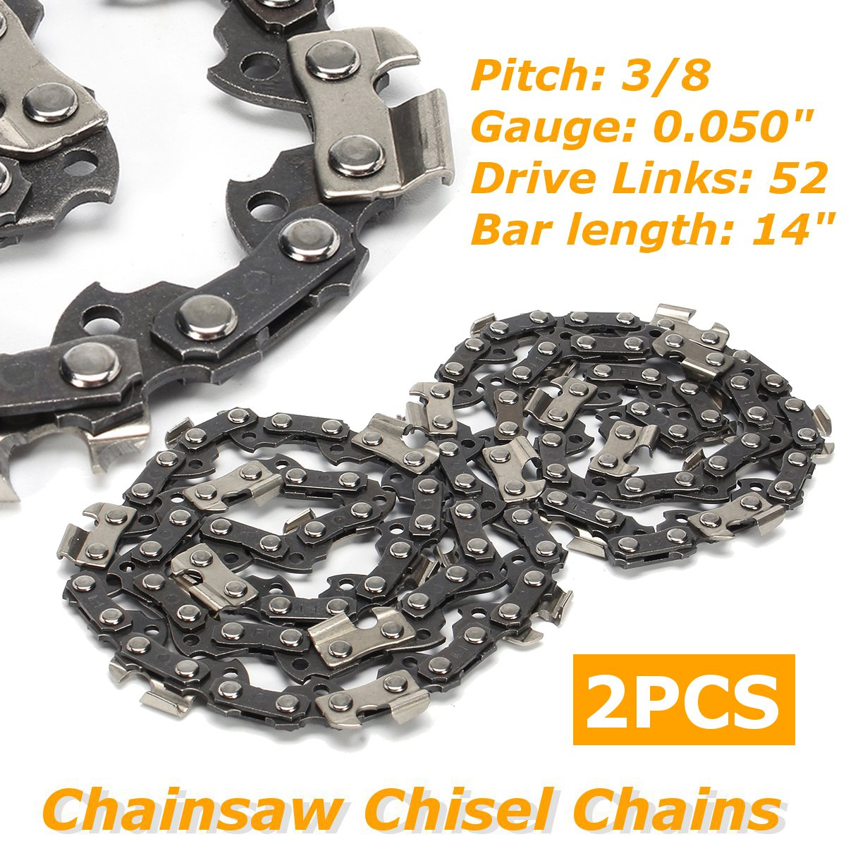 2pcs/set 14 Inch Chainsaw Saw Chain Drive Link Pitch 52 Link 3/8LP 050 Gauge Chainsaw Blade For Husqvarna Garden Tools
