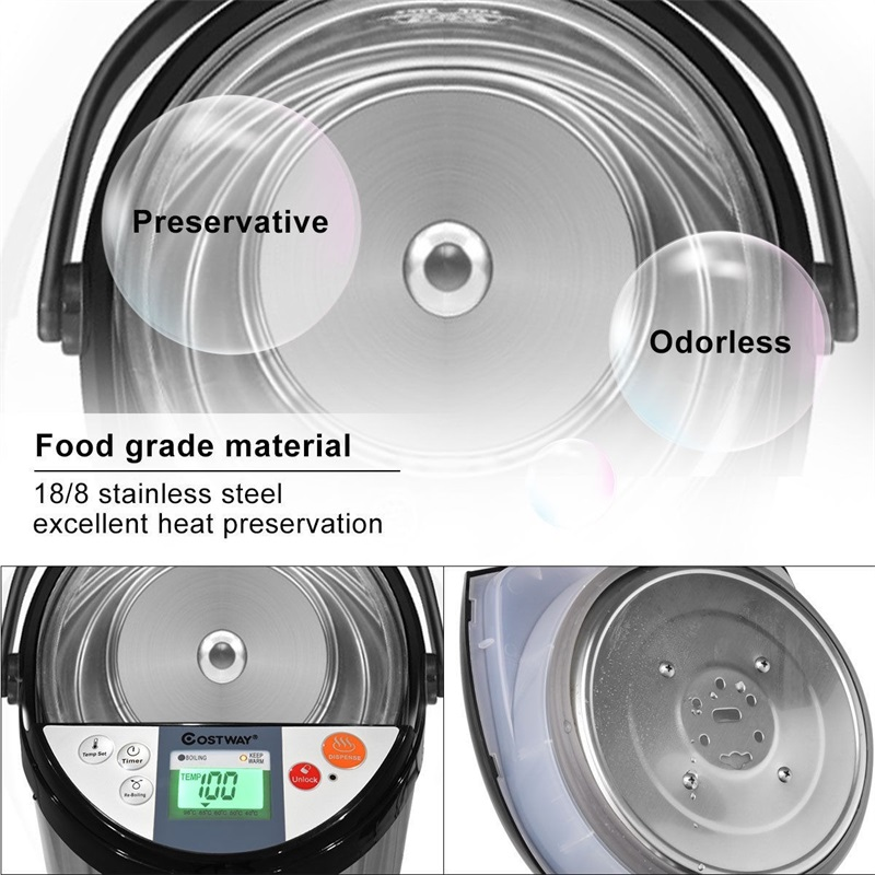 Costway <font><b>5</b></font>-<font><b>Liter</b></font> Display Stainless Steel and <font><b>Water</b></font> Excellent Heat Preservation