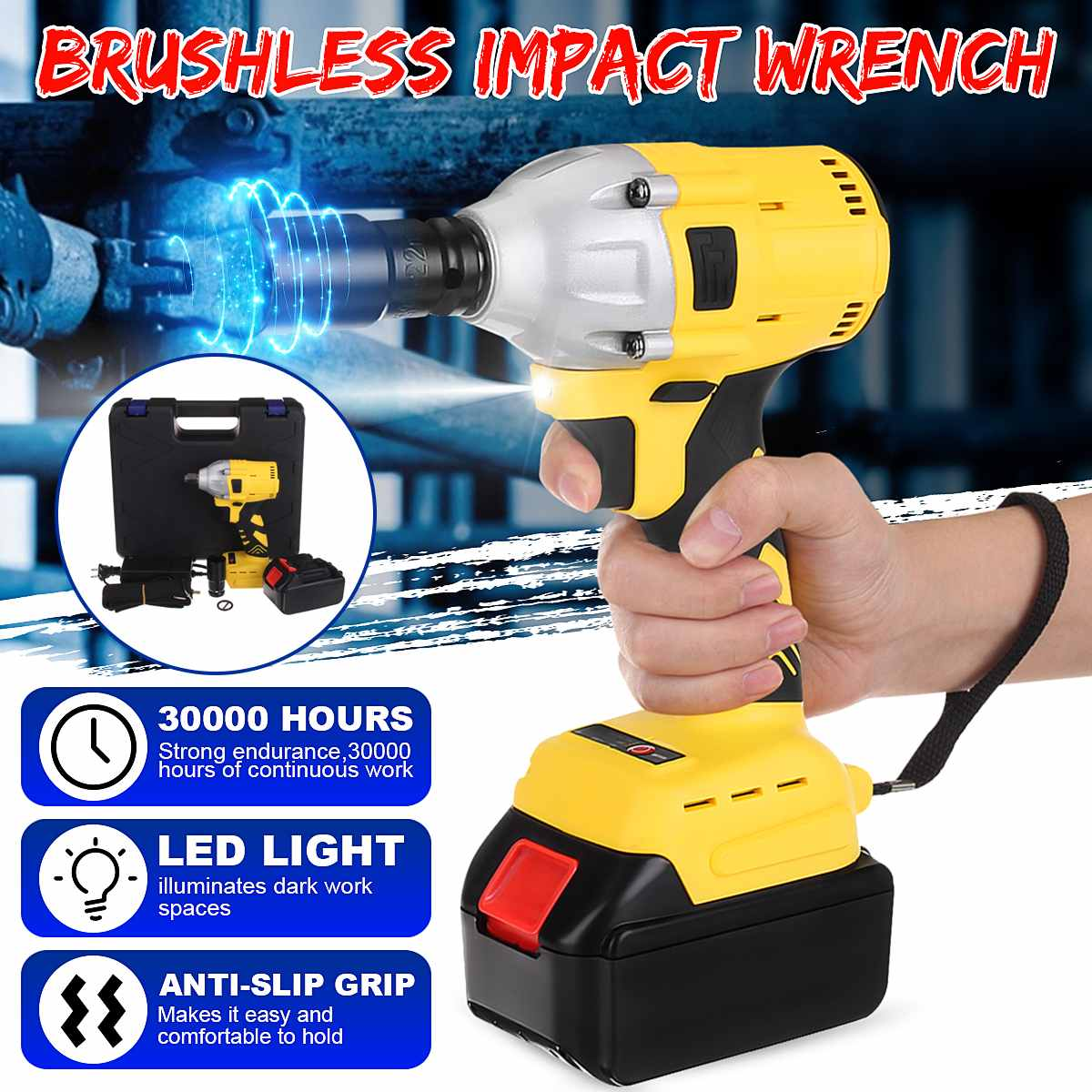 110-240V 650N.m 288VF Cordless Electric Impact Wrench Electric Wrench Brush With 1x Li-ion Battery Power Tools