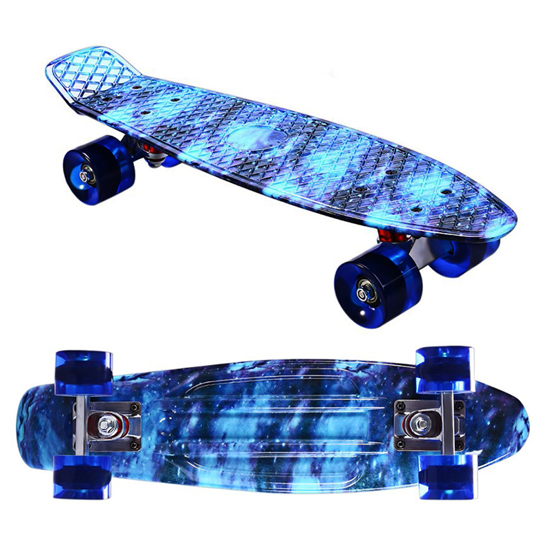 Illusion Sky Design 22inch Skateboard Mini Cruiser Skateboard Plastic Longboard Banana Fishboard Good Quality Level For Adults