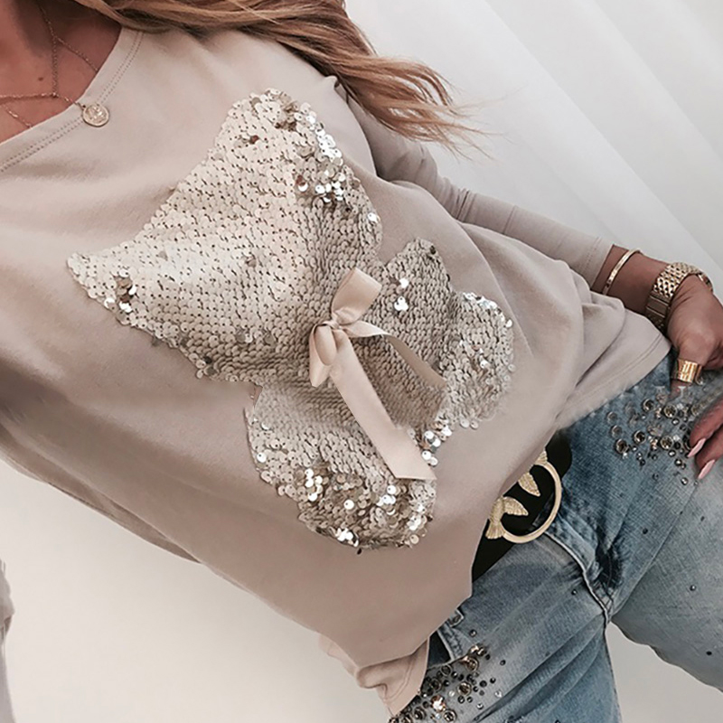 Women Sequins Print Blouse Casual Lips Autumn Winter Long Sleeve Beading Top Shirt Ladies Fashion O-Neck Loose Pullover Blusa