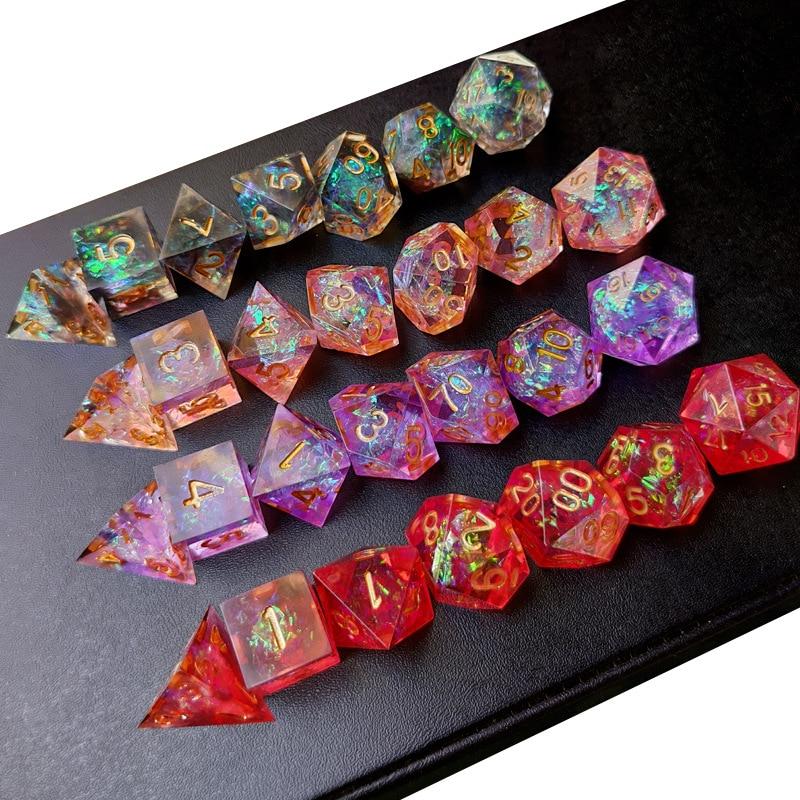 New Upscale Resin Transparent Sharp Corner Dnd dice set Polyhedral Dice rpg dice dadi dados rol D4 D6 D8 D10 D12 D20 Game Dice