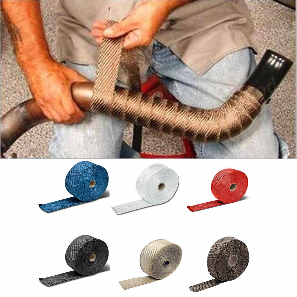 Car Motorcycle Exhaust Wrap Pipe Header Heat Wrap Turbo Mainfold Heat Exhaust Thermal Wrap Tape Stainless Steel Ties 5m