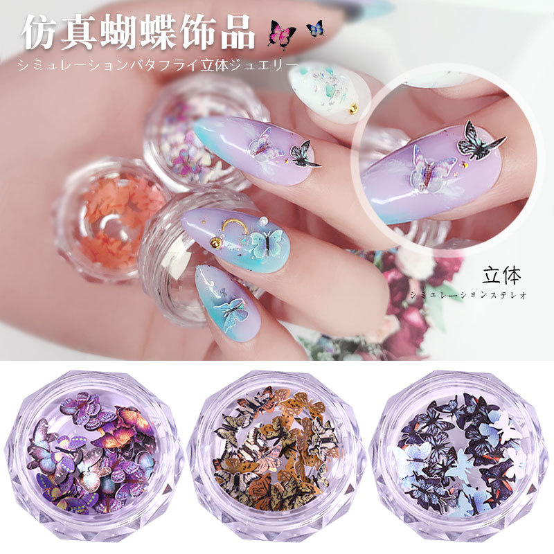 50Pcs Resin 3D Butterfly Nail Art Stickers Adhesive Sliders Colorful DIY Golden Nail Transfer Decals Foils Wraps Decorations