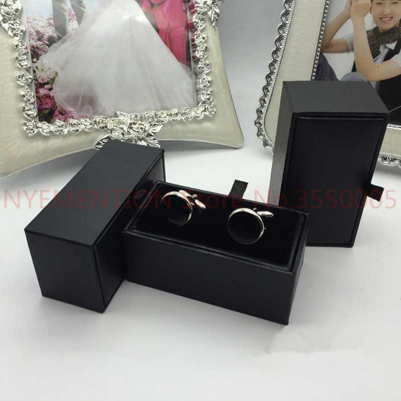 Свадебные подарочные коробки 20 шт./лот черная рубашка запонки коробка запонки подарочный Чехол держатель ювелирные изделия упаковочные коробки Органайзер черный