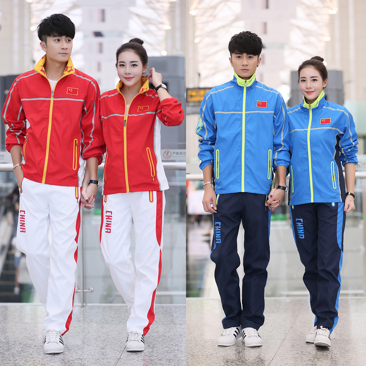 Spring And Autumn Chinese Team Receive Service Uniform Sports Set Men And Women Students Long Sleeve School Uniform Blue